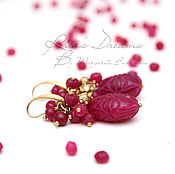 Украшения handmade. Livemaster - original item Ruby drop earrings, rubies brass carved red crimson Burgundy. Handmade.