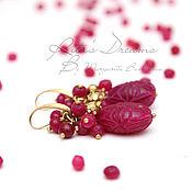 Украшения ручной работы. Ярмарка Мастеров - ручная работа Серьги Рубиновые капли рубины латунь резные красные малиновые бордовые. Handmade.