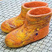 "Slippers handmade. Livemaster - original item Домашние валеночки ""Радужные"". Handmade."