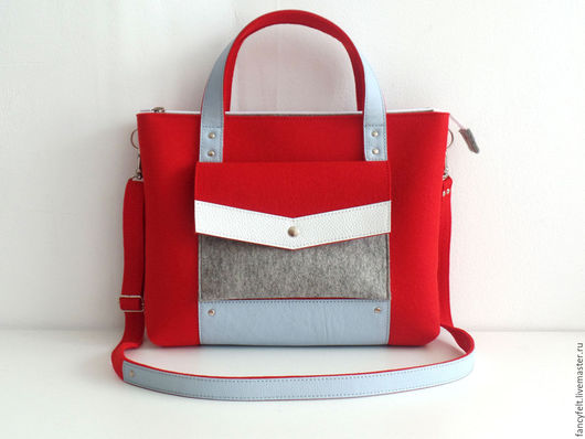 Женские сумки ручной работы. Ярмарка Мастеров - ручная работа. Купить Красная сумка-портфель из фетра и натуральной кожи. Handmade.