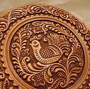 Картины и панно handmade. Livemaster - original item Decorative plate, the Abramtsevo-Kudrin carving. Handmade.