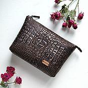 handmade. Livemaster - original item Cosmetic bag with zipper eco-leather cosmetic Bag with pocket Croco-4. Handmade.