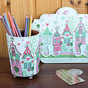 Для дома и интерьера handmade. Livemaster - original item Room set girls: pencil holder and hanger. Handmade.