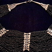 Винтаж handmade. Livemaster - original item Beads coral black INDIA vintage necklace 1960. Handmade.
