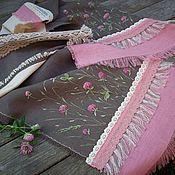 handmade. Livemaster - original item Scarves: Linen scarf with hand painted Clover. Boho Ekostil. Handmade.