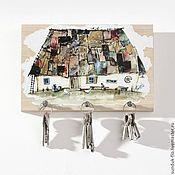 Для дома и интерьера handmade. Livemaster - original item Wooden Key holder Old Country House with Patchwork roof. Handmade.