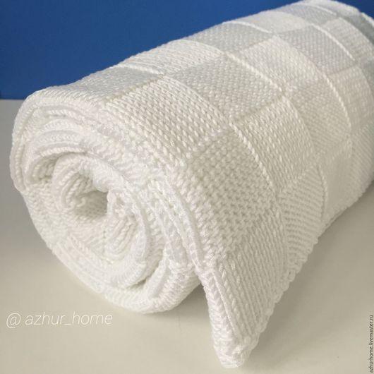 Пледы и одеяла ручной работы. Ярмарка Мастеров - ручная работа. Купить Плед для новорождённого. Handmade. Белый, пряжа итальянская, подарок