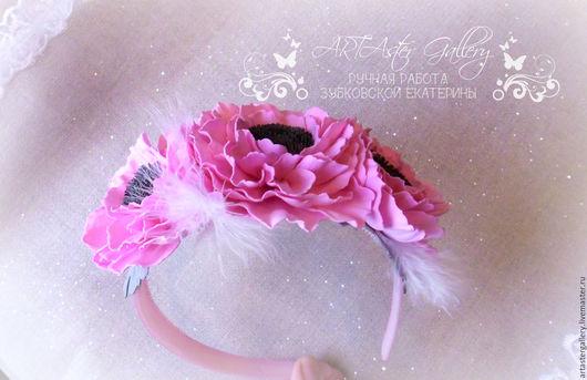 """Диадемы, обручи ручной работы. Ярмарка Мастеров - ручная работа. Купить Ободок  """" Розовый иней"""". Handmade. Бледно-розовый"""
