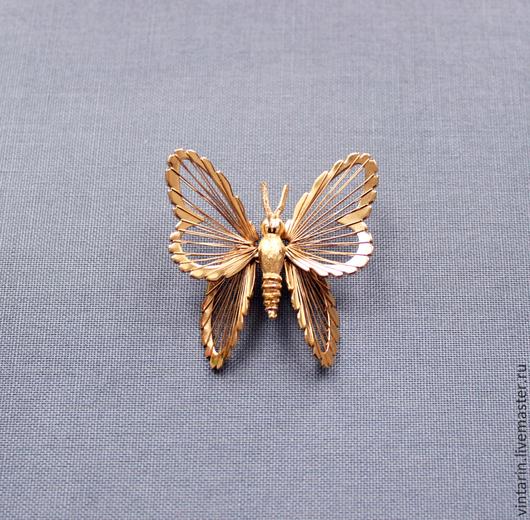 Брошь винтажная `Monet` в виде бабочки, 1966 год,
