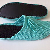 Slippers handmade. Livemaster - original item Slippers - flip flops for home ( cotton - turquoise ). Handmade.