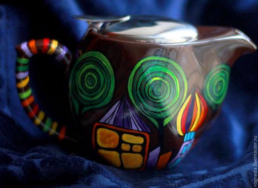 Чайники, кофейники ручной работы. Ярмарка Мастеров - ручная работа. Купить Хундертвассерчайник (0897). Handmade. Хундертвассер, подарок студенту