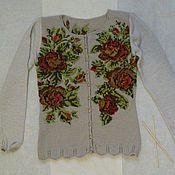 Одежда ручной работы. Ярмарка Мастеров - ручная работа Кофточка  с вышитыми розами.. Handmade.