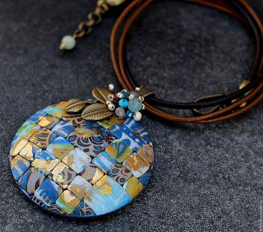 Кулоны, подвески ручной работы. Ярмарка Мастеров - ручная работа. Купить Копия работы кулон из полимерной глины мозаика 9 синие оттенки. Handmade.