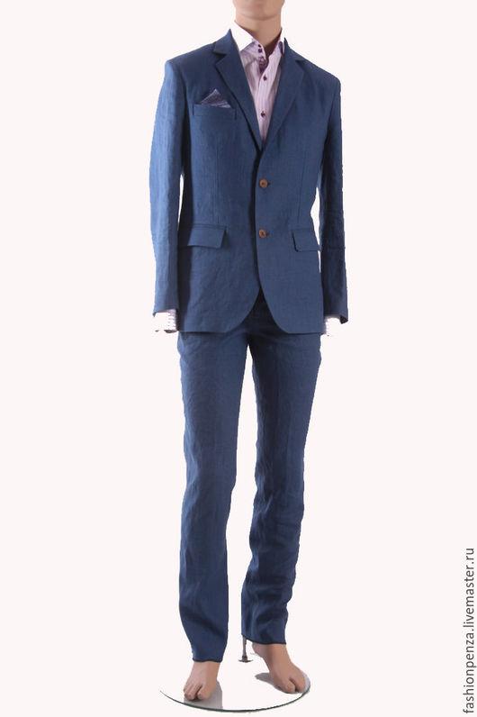 Для мужчин, ручной работы. Ярмарка Мастеров - ручная работа. Купить Мужской костюм из льна синего цвета. Handmade.