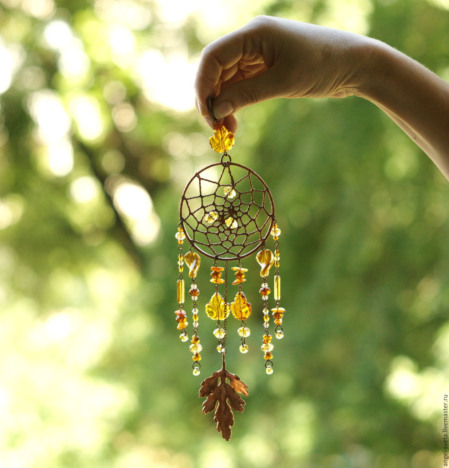 Light Catcher in brown,dream catcher,electroforming,vintage beads, fac, Stained glass, Kiev,  Фото №1