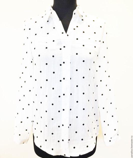 Блузки ручной работы. Ярмарка Мастеров - ручная работа. Купить МИЛАЯ, ЗАВТРА ЛЕТИМ В МИЛАН! белая блузка в горошек. Handmade.