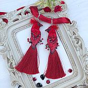 """Украшения handmade. Livemaster - original item Серьги-птицы-кисти """"Кардинал Ришелье"""". Handmade."""