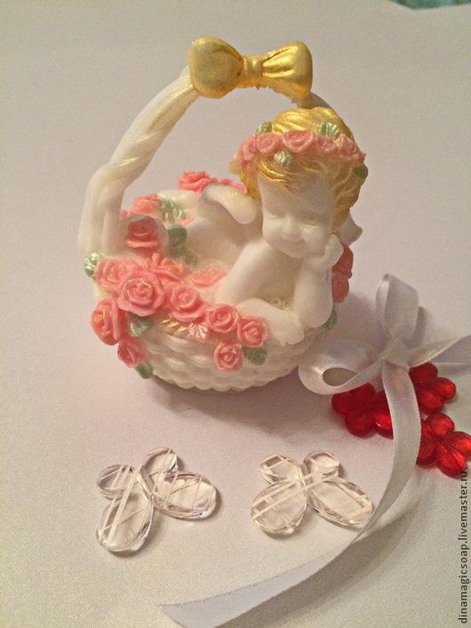 """Мыло ручной работы. Ярмарка Мастеров - ручная работа. Купить мыло 3 d """" Ангел в корзине с розами"""". Handmade."""