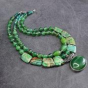 Украшения handmade. Livemaster - original item NEW!Double row necklace natural green variscite and agate. Handmade.