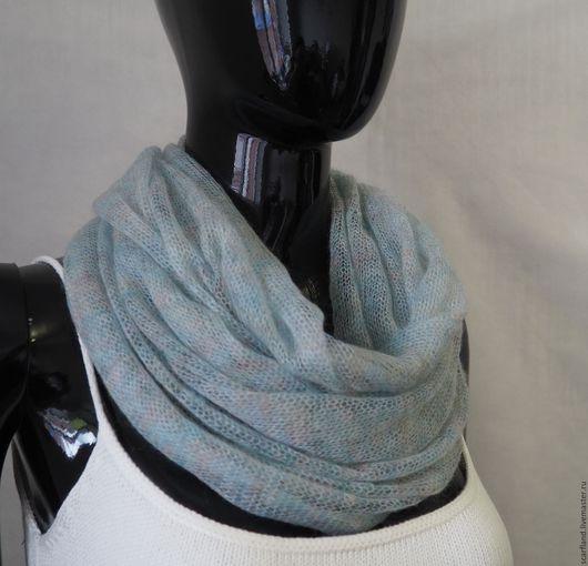 Шарфы и шарфики ручной работы. Ярмарка Мастеров - ручная работа. Купить шарф-снуд из кид-мохера. Handmade. Голубой