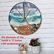 Для дома и интерьера handmade. Livemaster - original item Wall Clock Sea Waves Epoxy Resin.. Handmade.