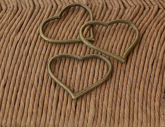 Для украшений ручной работы. Ярмарка Мастеров - ручная работа. Купить Кольцо-коннектор Сердце ант.бронза 27мм. Handmade.