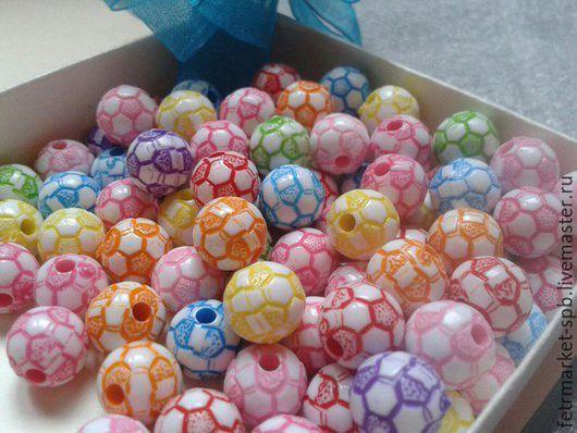 Другие виды рукоделия ручной работы. Ярмарка Мастеров - ручная работа. Купить Бусины 12 мм футбольный мяч микс. Handmade.