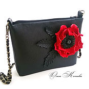 Сумки и аксессуары handmade. Livemaster - original item Black women`s handbag clutch bag with flower leather Juicy red poppy. Handmade.