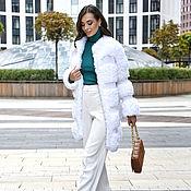 Одежда handmade. Livemaster - original item Short white knitted fur coat. Handmade.