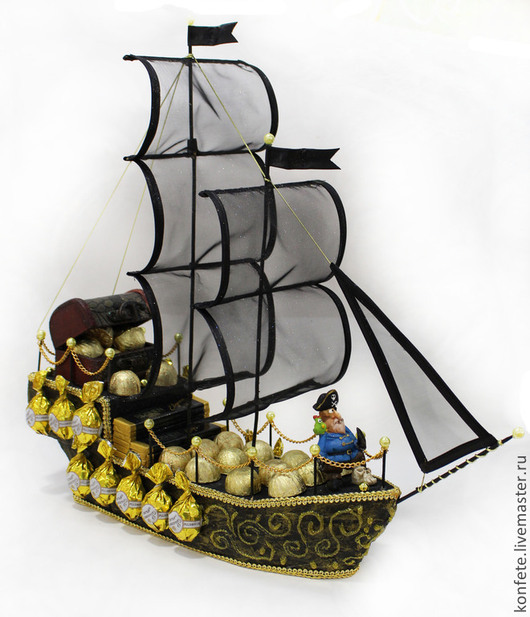 Персональные подарки ручной работы. Ярмарка Мастеров - ручная работа. Купить Корабль с конфетами пиратский Черная жемчужина. Handmade.