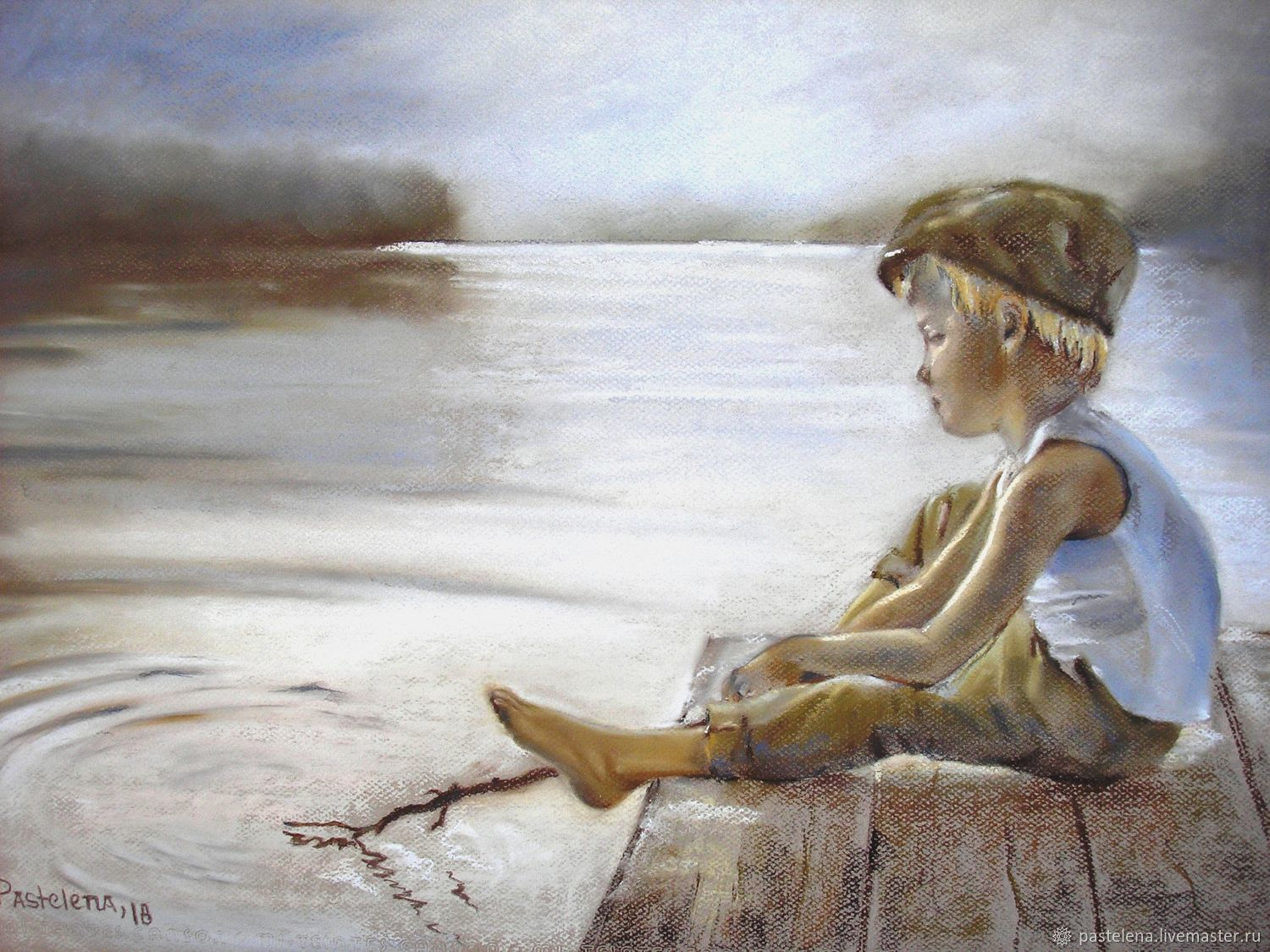 Silence painting pastel 50h65 cm (gray-brown lake boy), Pictures, ,  Фото №1