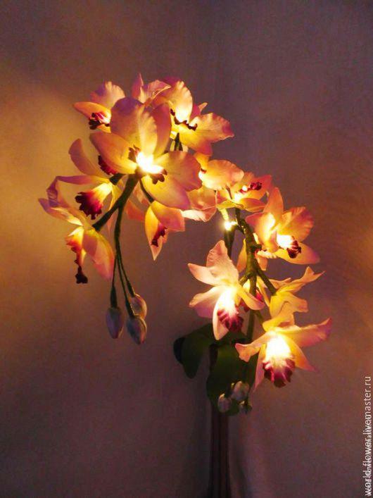 """Освещение ручной работы. Ярмарка Мастеров - ручная работа. Купить Букет-светильник """"Орхидея Амелия"""". Handmade. Розовый, светильник из дерева"""