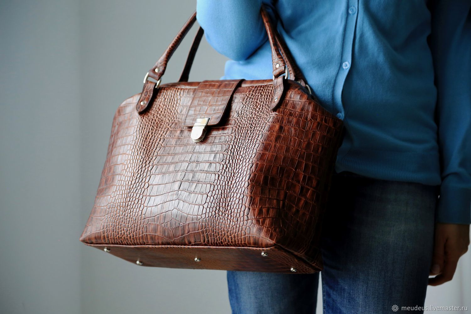 Bag L made of crocodile leather art. 484 milk chocolate, Valise, Moscow,  Фото №1