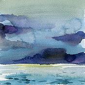 Картины и панно ручной работы. Ярмарка Мастеров - ручная работа Облака над морем, 4 акварели. Handmade.