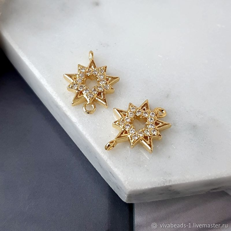 Connector Star 15x11.5x2.5. 4709.  mm with zircons gilding (), Beads1, Voronezh,  Фото №1