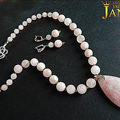 Украшения handmade. Livemaster - original item Set of frosted rose quartz and peridot.. Handmade.