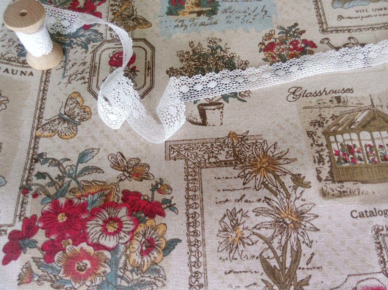 Лен с хлопком садовые цветы, Ткань, Санкт-Петербург, Фото №1