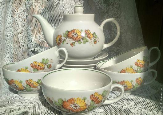...солнечный набор чайной посуды, производства Дулевского фарфорового завода прошлых лет...