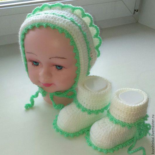 Для новорожденных, ручной работы. Ярмарка Мастеров - ручная работа. Купить Пинетки и чепчик для малыша. Handmade. Белый, пинетки для новорожденных