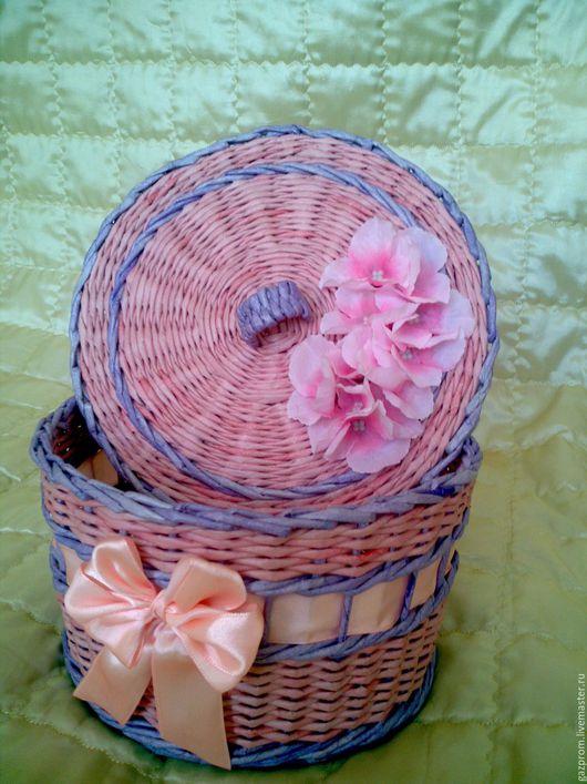 Шкатулки ручной работы. Ярмарка Мастеров - ручная работа. Купить Шкатулка. Handmade. Плетение из газет, плетение из бумаги, розовый