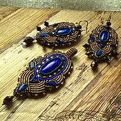 Украшения handmade. Livemaster - original item Small blue gold pendant with natural lapis lazuli, Japanese beads. Handmade.