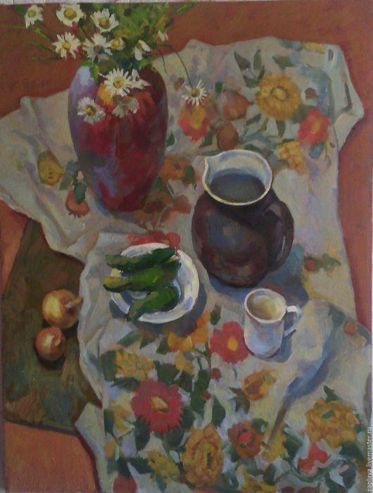 """Натюрморт ручной работы. Ярмарка Мастеров - ручная работа. Купить """"Ваза и кувшин"""". Handmade. Ваза для цветов, ваза, ромашки, цветы"""