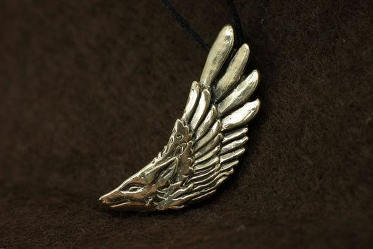 Волк, крылатый волк кулон купить украшение волки бронза подвеска с волком кулон авторские украшения подарок для мужчины фэнтези волк