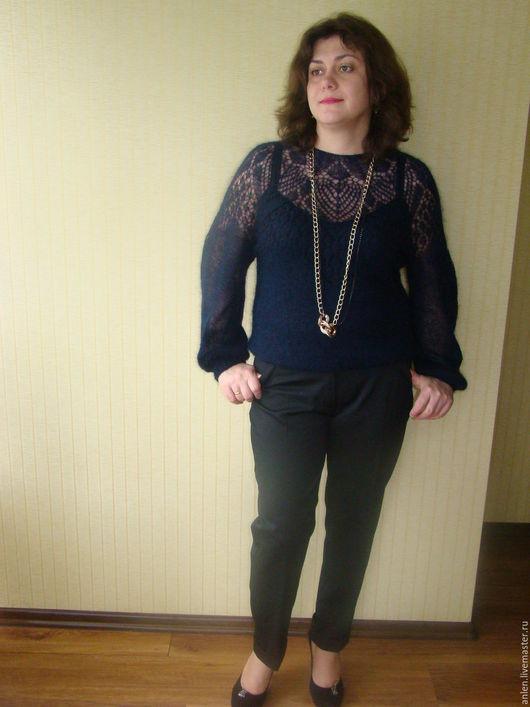 Кофты и свитера ручной работы. Ярмарка Мастеров - ручная работа. Купить Ажурная блуза Темная ночь. Handmade. Синий