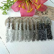 Украшения handmade. Livemaster - original item Beads Earrings Womens Lightweight Long Black White Gray Simple Inexpensive. Handmade.