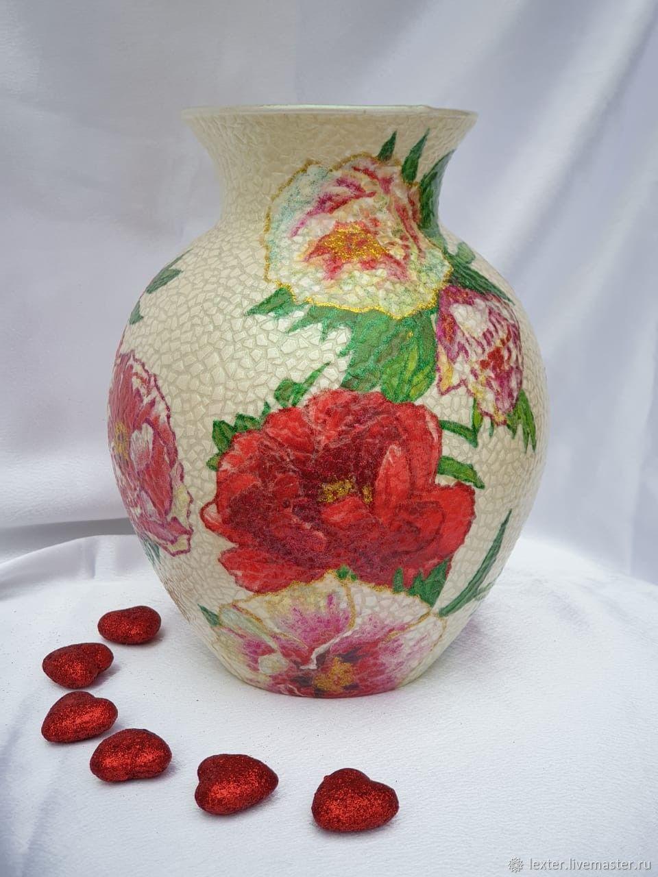 Вазы ручной работы. Стеклянная ваза Пионы