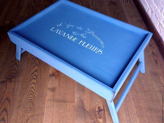 """Кухня ручной работы. Ярмарка Мастеров - ручная работа. Купить Поднос на ножках """"Lavande fleurs"""" steel blue. Handmade. Поднос"""