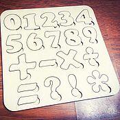 Куклы и игрушки ручной работы. Ярмарка Мастеров - ручная работа Пазл цифры из фанеры игра цифры-вкладыши. Handmade.