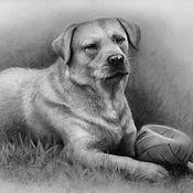 Картины и панно ручной работы. Ярмарка Мастеров - ручная работа Лабрадор собака. Handmade.