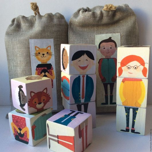 Развивающие игрушки ручной работы. Ярмарка Мастеров - ручная работа. Купить Детские кубики развивающие, набор в мешочке. Handmade.